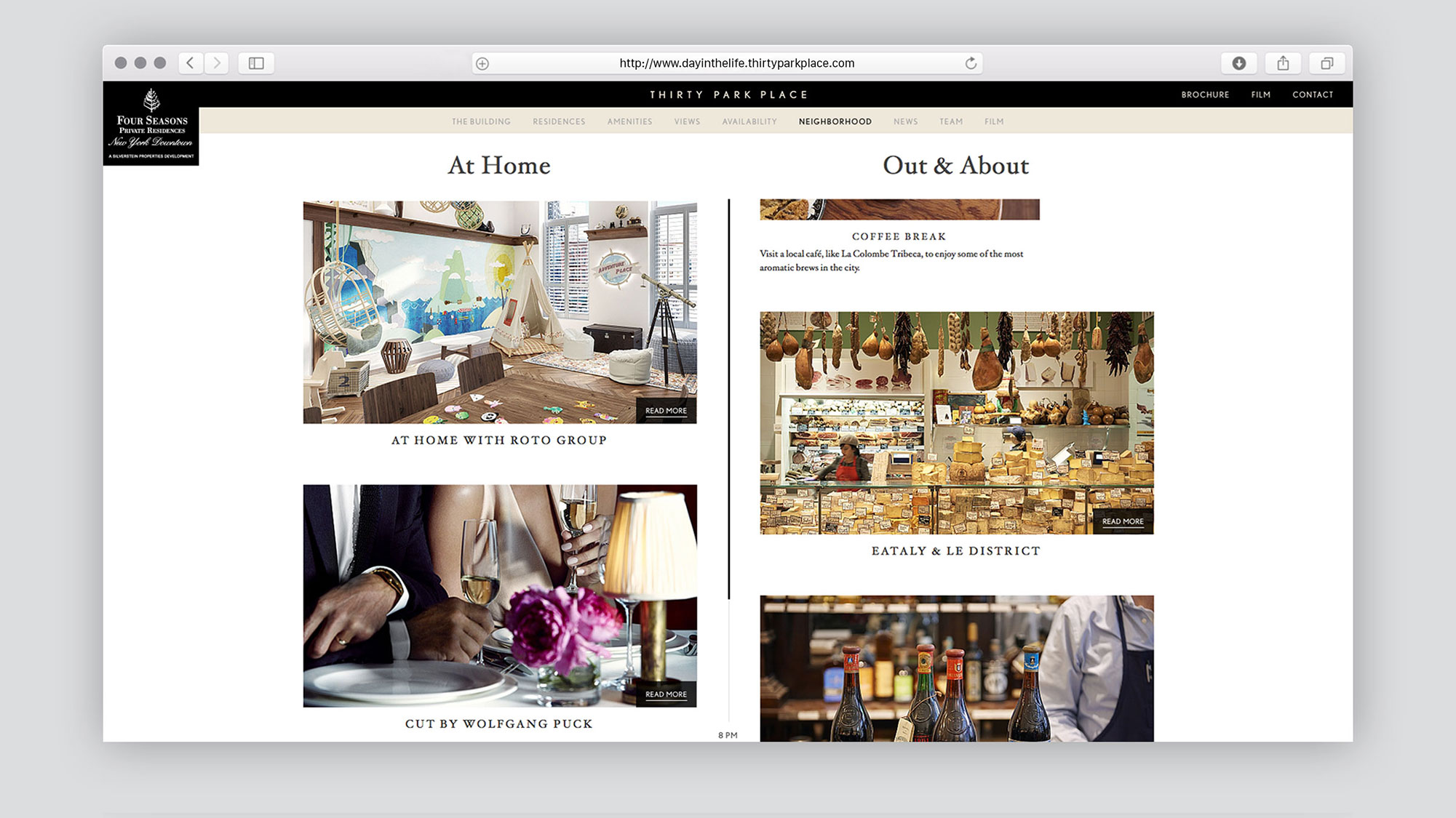 Web Design for 30 Park Place by The Four Seasons