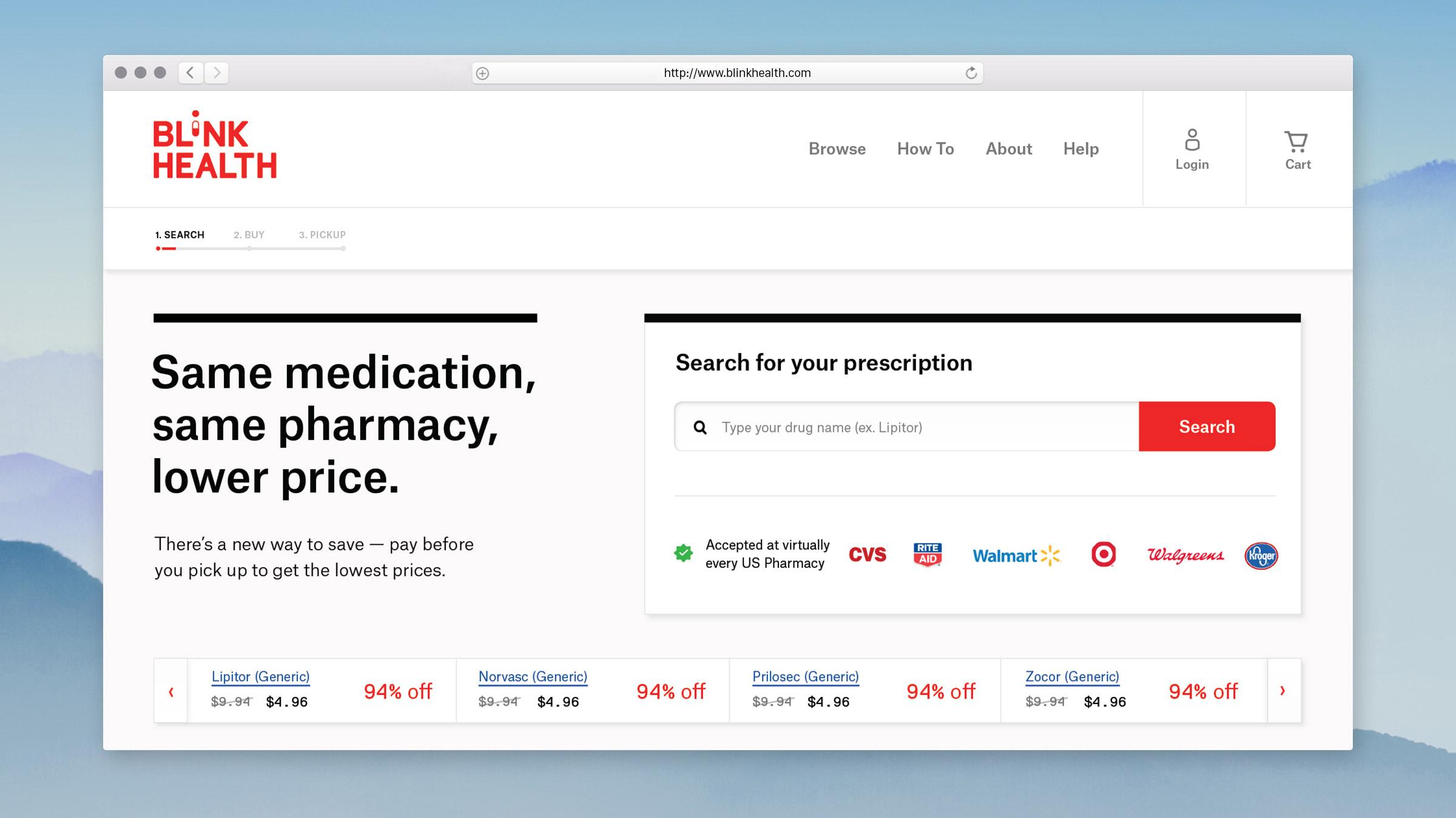 Web Design for Blink Health - Homepage