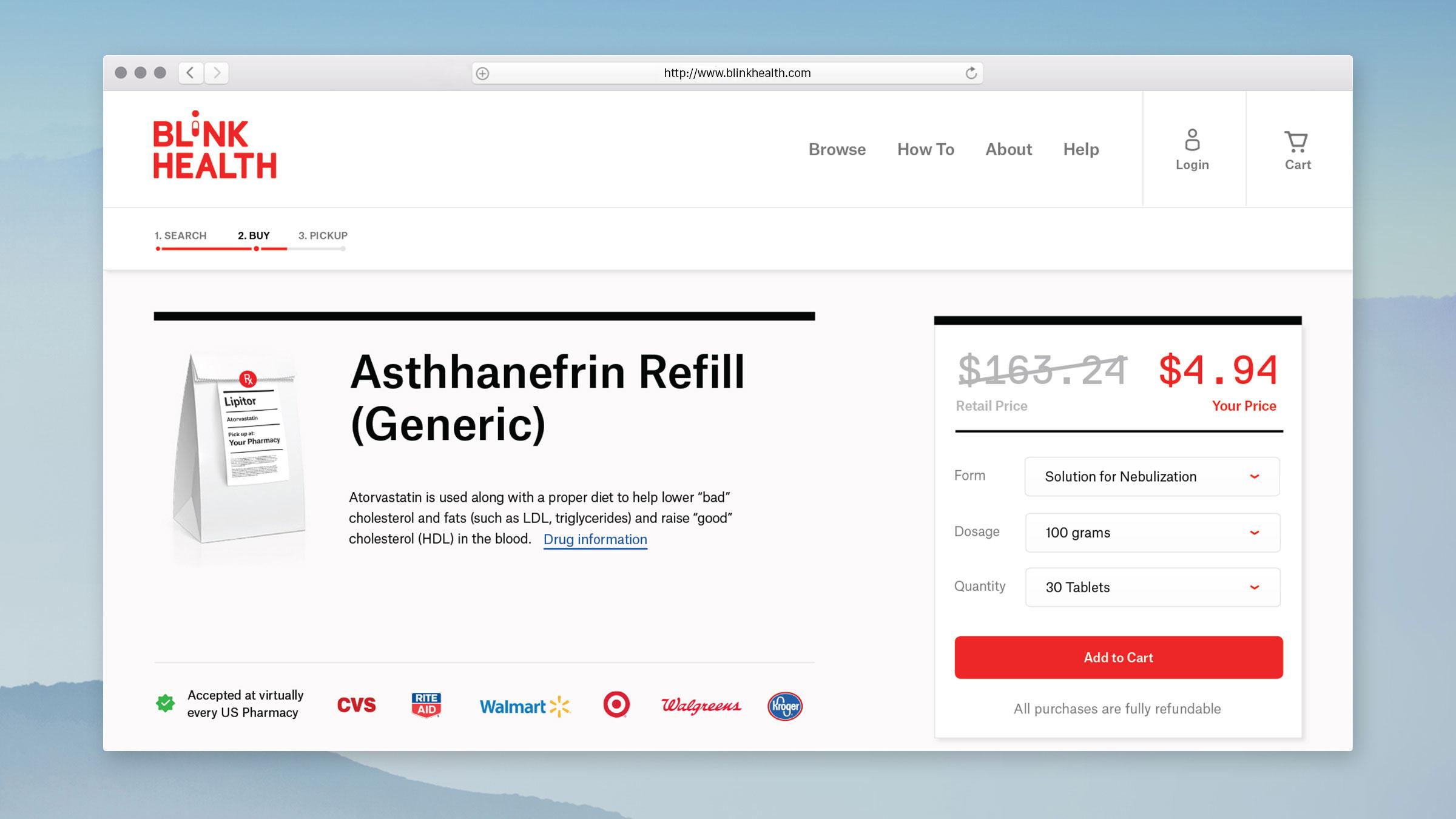 Web Design for Blink Health - PDP