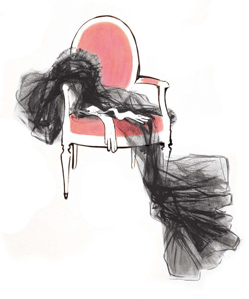 Packaging Design for Dior Featuring Grau Illustration of a dress on a chair