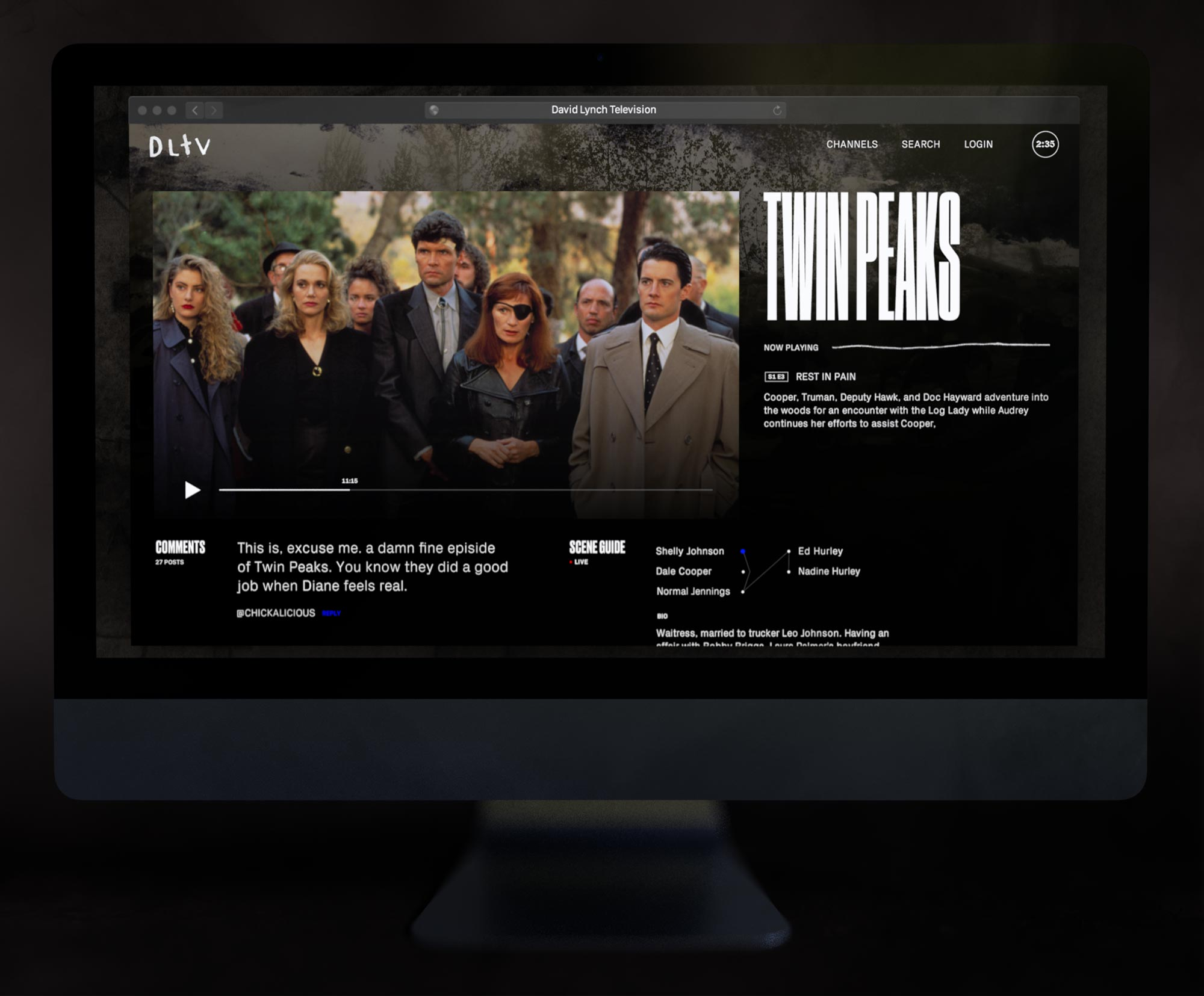 Web Design for Streaming Service David Lynch Television