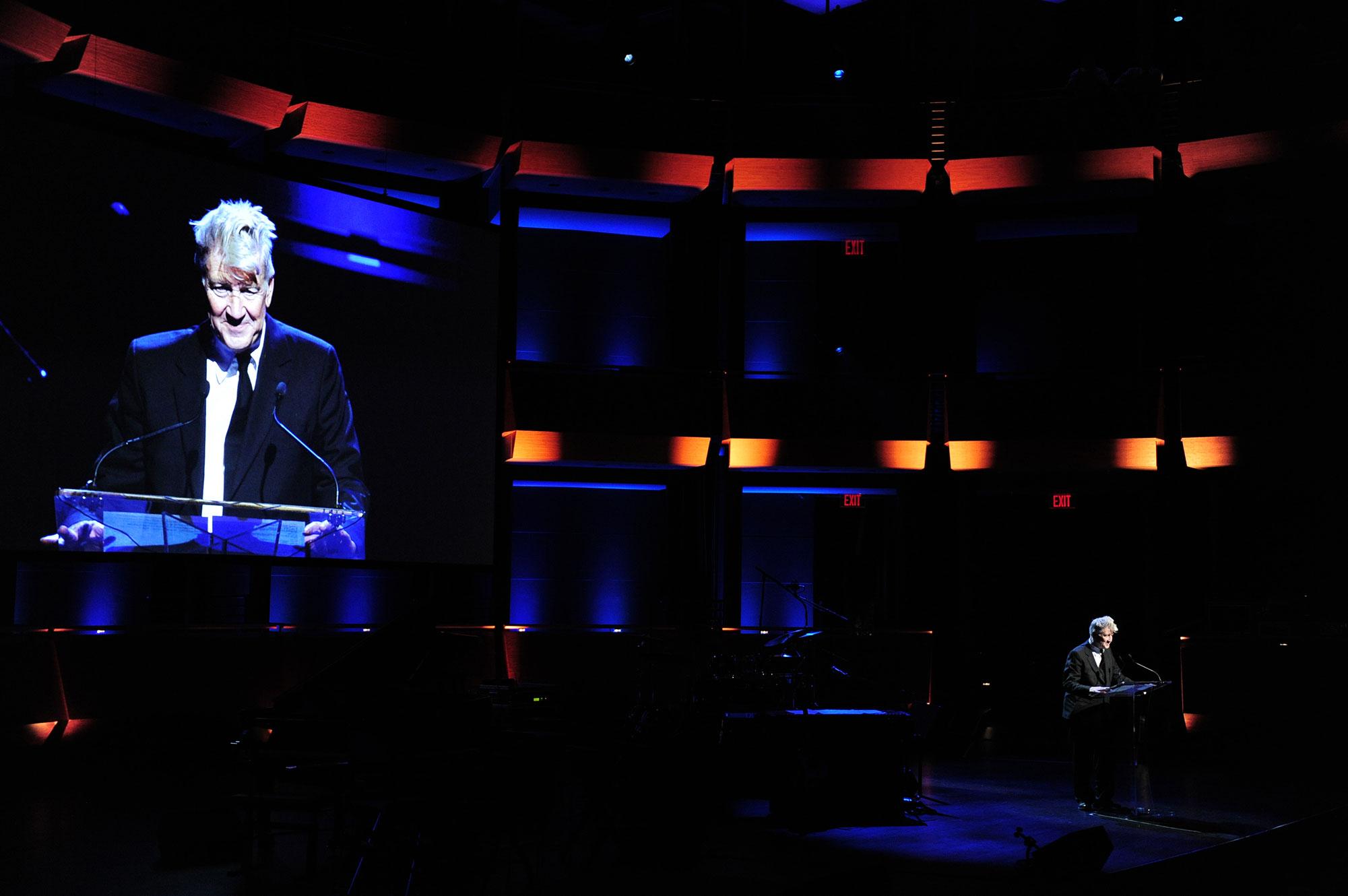 David Lynch Speaks at a David Lynch Foundation Event